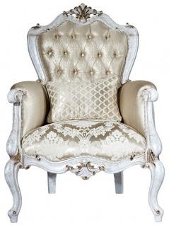 Casa Padrino Luxus Barock Sessel Gold / Antik Weiß / Gold 80 x 80 x H. 116 cm - Wohnzimmer Sessel mit elegantem Muster und dekorativem Kissen - Barock Wohnzimmer Möbel