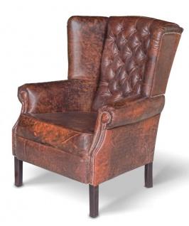Casa Padrino Chesterfield Echtleder Ohrensessel Vintage Leder Dunkelbraun - Luxus Wohnzimmer Sessel Möbel Büffelleder Sessel