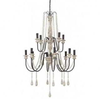 Casa Padrino Barock Decken Kronleuchter Antik Weiß Durchmesser 85 x H 136 cm Antik Stil - Möbel Lüster Leuchter Deckenleuchte Hängelampe