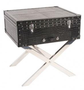 Casa Padrino Koffer Konsole Echtleder schwarz in Croco Optik 50 x 50 x 45 cm - Nachttisch Nachtkonsole - Vorschau