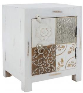 Casa Padrino Landhausstil Shabby Chic Kommode mit Tür Antik Weiß / Mehrfarbig 40 x 32 x H. 50 cm - Landhausstil Möbel - Vorschau 2