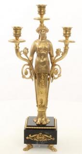 Casa Padrino Jugendstil Kerzenhalter Set Gold / Schwarz 18 x 13 x H. 44, 5 cm - Barock & Jugendstil Möbel