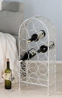 Casa Padrino Designer Weinregal aus Metall für 17 Flaschen H 77 cm, B 34 cm, Antik Weiss - Weinflaschenständer - Flaschenablage