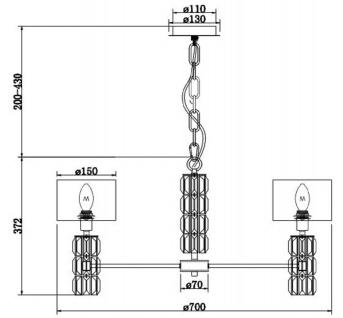 Casa Padrino Designer Kronleuchter Silber / Weiß Ø 70 x H. 37, 2 cm - Moderner Metall Kronleuchter mit eleganten Glaselementen und runden Lampenschirmen - Vorschau 3