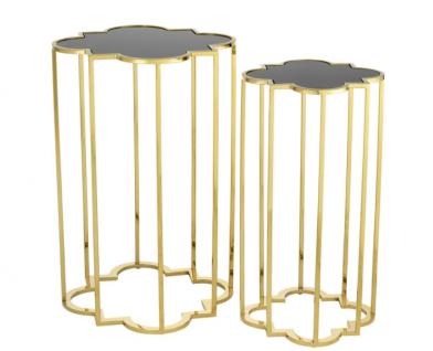 Casa Padrino Luxus Art Deco Designer Beistelltische 2er Set Gold mit schwarzem Glas - Designer Beistelltisch Möbel