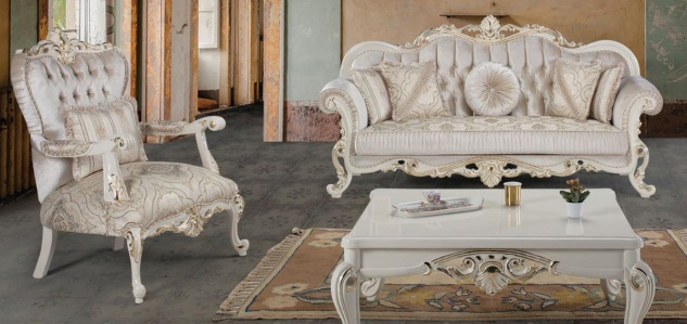 Casa Padrino Luxus Barock Wohnzimmer Set Mehrfarbig / Weiß / Gold - 2 Sofas & 2 Sessel & 1 Couchtisch - Wohnzimmer Möbel im Barockstil - Edel & Prunkvoll