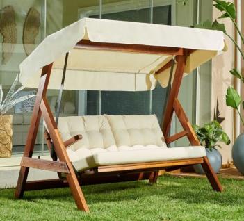 Casa Padrino Luxus Hollywood Schaukel Cremefarben / Braun - Moderne Wetterfeste Garten Schaukel mit Sonnendach - Garten Möbel - Terrassen Möbel
