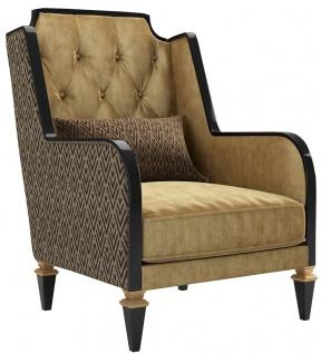Casa Padrino Luxus Barock Wohnzimmer Sessel Gold / Schwarz 72 x 80 x H. 105 cm - Edle Barockstil Möbel