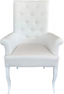 Casa Padrino Chesterfield Neo Barock Esszimmer Stuhl Weiß / Weiß Kunstleder mit Armlehnen - Barock Möbel