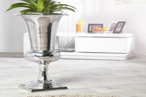 Casa Padrino Designer Aluminium Vase Silber Ø 35 x H. 60 cm - Luxus Blumenvase im Pokal Design
