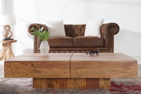 Casa Padrino Designer Massivholz Couchtisch Natur 110 x 30 cm - Salon Wohnzimmer Tisch - Vorschau 4