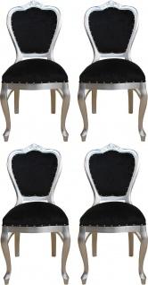 Casa Padrino Luxus Barock Esszimmer Set Schwarz / Silber 45 x 46 x H. 99 cm - 4 handgefertigte Esszimmerstühle - Barock Esszimmermöbel