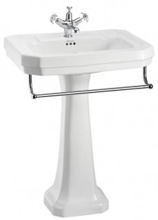 Casa Padrino Porzellan Waschbecken mit Sockel und Handtuchhalter - Luxus Kollektion