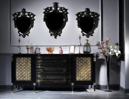 Casa Padrino Luxus Barock Wohnzimmer Set Schwarz / Gold - Kommode und 3 Wandspiegel - Barockmöbel