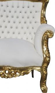 Casa Padrino Barock Sessel Al Capone Weiß / Gold mit Bling Bling Glitzersteinen - Antik Stil Wohnzimmer Möbel - Vorschau 3