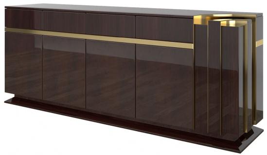 Casa Padrino Designer Sideboard Dunkelbraun Hochglanz / Gold 220 x 50 x H. 85 cm - Edler Schrank mit 4 Türen und 4 Schubladen - Luxus Wohnzimmer Möbel