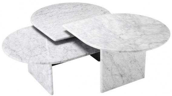 Casa Padrino Luxus Couchtisch Set Weiß - 3 Wohnzimmertische aus hochwertigem Carrara Marmor - Luxus Möbel