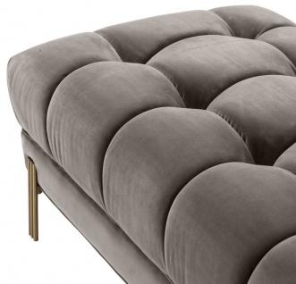Casa Padrino Luxus Sitzbank Grau / Messingfarben 133 x 59 x H. 42 cm - Gepolsterte Samt Bank mit Edelstahl Beinen - Luxus Kollektion - Vorschau 5