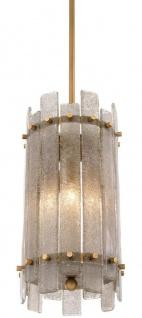 Casa Padrino Kronleuchter Antik Messingfarben Ø 27 x H. 52 cm - Runder Luxus Kronleuchter mit mundgeblasenem Glas