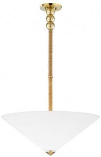 Casa Padrino Luxus Hängeleuchte Antik Messing / Weiß Ø 61 x H. 57-126 cm - Hängelampe mit rundem Glas Lampenschirm