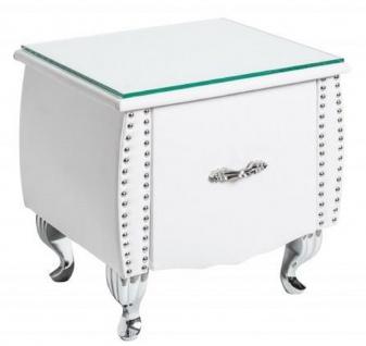 Casa Padrino Art Deco Nachttisch mit Schublade und Glasplatte Weiß / Silber 47 x 41 x H. 45 cm - Schlafzimmermöbel