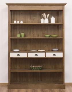Casa Padrino Landhausstil Regalschrank Braun / Weiß 140 x 39 x H. 197 cm - Landhausstil Schrank mit 3 Schubladen - Massivholz Küchenschrank - Landhausstil Möbel