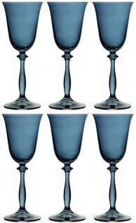 Casa Padrino Luxus Barock Weißweinglas 6er Set Blau Ø 8, 5 x H. 21 cm - Handgefertigte Weingläser - Hotel & Restaurant Accessoires - Luxus Qualität - Vorschau 4