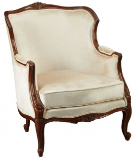 Casa Padrino Luxus Barock Sessel Cremefarben / Dunkelbraun - Prunkvoller Wohnzimmer Sessel im Barockstil - Barock Wohnzimmer Möbel - Edel & Prunkvoll