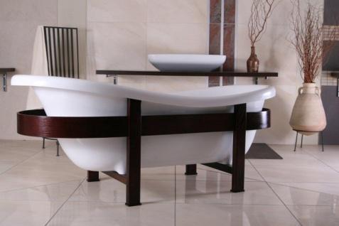 Freistehende Luxus Badewanne Jugendstil Toscane 1675mm Weiß/Holzgestell Braun - Antik Stil Badezimmer