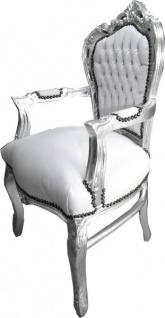Casa Padrino Barock Esszimmer Stuhl mit Armlehnen Weiß / Silber Lederoptik - Möbel Antik Stil - Vorschau 2