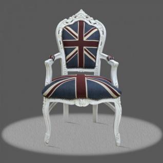 Casa Padrino Barock Esszimmer mit Armlehnen Union Jack / Antikstil Weiß - Antik Stil