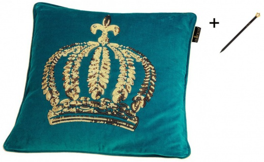 Harald Glööckler Designer Zierkissen 50 x 50 cm Krone mit Pailletten Türkis / Gold + Casa Padrino Luxus Barock Bleistift mit Kronendesign