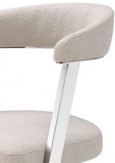 Casa Padrino Designer Stuhl mit Armlehnen Naturfarben / Silber 53, 5 x 49 x H. 78 cm - Esszimmerstuhl - Bürostuhl - Designermöbel - Vorschau 4