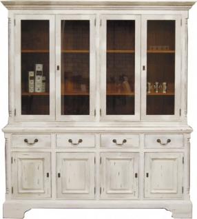 Casa Padrino Vintage Buffetschrank Antik Stil Weiss / Holzfarben H 219 x B 189 cm - Vitrine Regal Schrank Shabby Chic