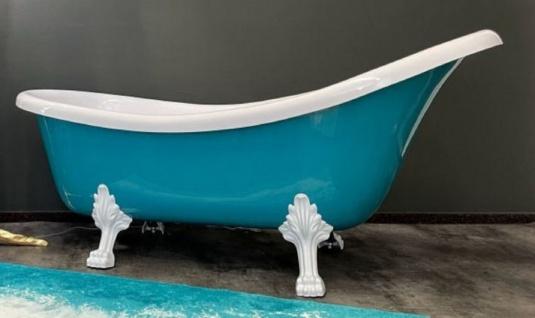 Casa Padrino Luxus Jugendstil Badewanne Türkis / Weiß 174 x 83 x H. 81 cm - Freistehende Retro Badewanne mit Löwenfüßen - Retro Badezimmer Möbel