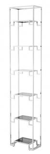 Casa Padrino Wohnzimmer Regalschrank Silber / Schwarz 45, 5 x 25, 5 x H. 221 cm - Luxus Wohnzimmerschrank