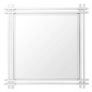 Casa Padrino Luxus Spiegel Art Deco 90 x 90 cm Edelstahl poliert - Wandspiegel - Luxus Hotel Möbel Collection