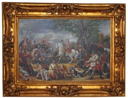 Handgemaltes Barock Öl Gemälde Napoleon auf dem Pferd Gold Prunk Rahmen 120 x 90 x 10 cm - Massives Material