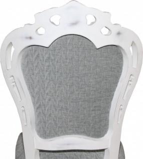 Casa Padrino Barock Esszimmer Stuhl ohne Armlehnen Grau / Antik Weiß - Designer Stuhl - Luxus Qualität - Vorschau 5