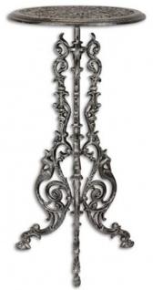 Casa Padrino Jugendstil Beistelltisch Antik Silber H. 69 cm - Runder Gusseisen Blumentisch - Garten & Terrassen Möbel