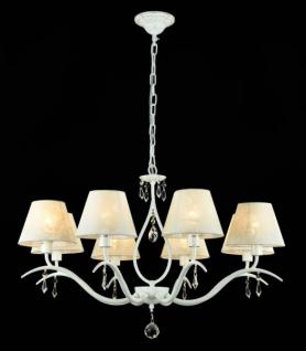 Casa Padrino Barock Kristall Decken Kronleuchter Weiß Gold 77 x H 51 cm Antik Stil - Möbel Lüster Leuchter Hängeleuchte Hängelampe