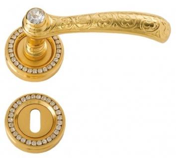 Casa Padrino Luxus Barock Türgriff Set Gold 12, 5 x H. 5, 2 cm - Edle Messing Türgriffe mit 24 Karat Vergoldung und Swarovski Kristallglas - Luxus Qualität