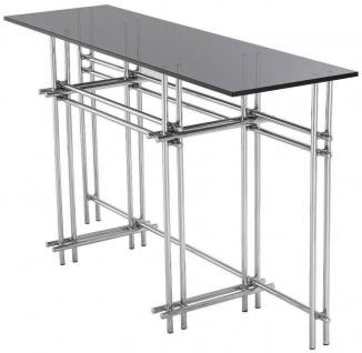 Casa Padrino Designer Konsole Silber / Grau 131 x 36, 5 x H. 73 cm - Edelstahl Konsolentisch mit Glasplatte - Designer Möbel - Luxus Qualität - Vorschau 3