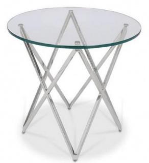 Casa Padrino Luxus Beistelltisch Silber Ø 60 x H. 55 cm - Runder Edelstahl Tisch mit Glasplatte - Luxus Möbel