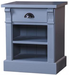 Casa Padrino Landhausstil Nachttisch mit Schublade und Regal Hellblau 49 x 33 x H. 60 cm - Massivholz Nachtkommode - Nachtschrank - Landhausstil Schlafzimmermöbel