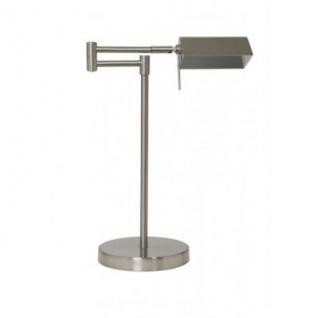 Casa Padrino Tischleuchte Silber 17, 5 x H 42 cm - Leuchte - Schreibtischleuchte - Büroleuchte