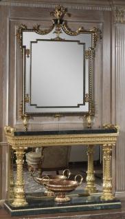 Casa Padrino Luxus Barock Möbel Set Konsole mit Spiegel Schwarz / Grün / Gold - Prunkvoller handgeschnitzter Konsolentisch mit elegantem Wandspiegel - Barock Schloss & Hotel Möbel - Luxus Qualität