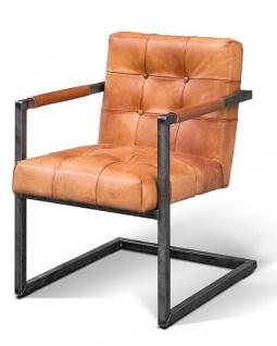 Casa Padrino Vintage Industrial Echtleder Armlehn Stuhl - ALLE FARBEN - Luxus Sessel Industrie Armlehner Design Möbel Büffelleder - Vorschau 1