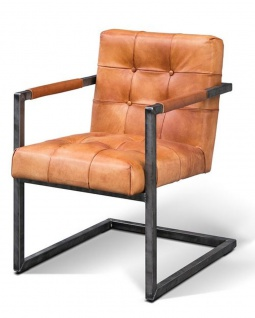 Casa Padrino Vintage Industrial Echtleder Armlehn Stuhl - ALLE FARBEN - Luxus Sessel Industrie Armlehner Design Möbel Büffelleder