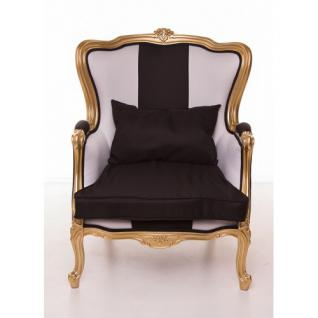 Casa Padrino Luxus Barock Sessel Schwarz / Weiß / Gold Möbel - Luxury Hotel Collection